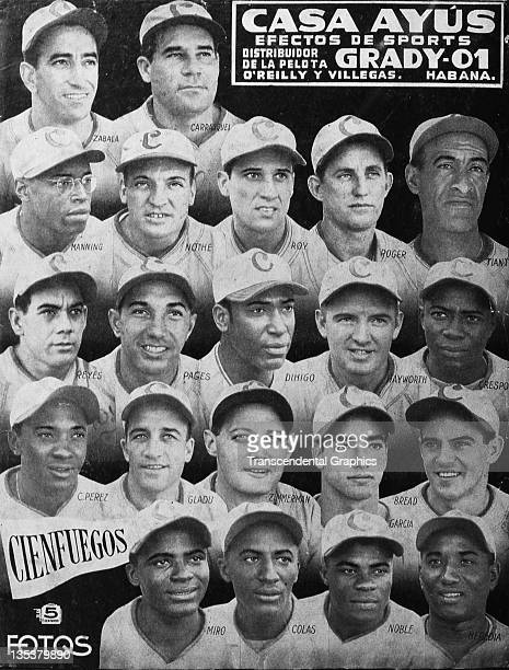 The magazine Casa Ayus features the baseball champion Cienfuegos team with every player in portraits on the cover Martin Dihigo Alejandro Crespo Luis...