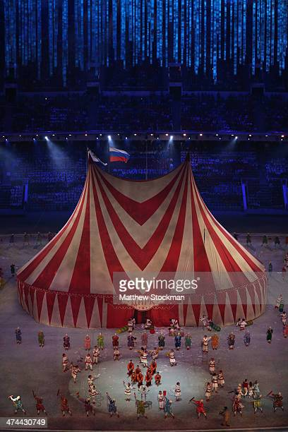 The magic of circus is performed during the 2014 Sochi Winter Olympics Closing Ceremony at Fisht Olympic Stadium on February 23 2014 in Sochi Russia