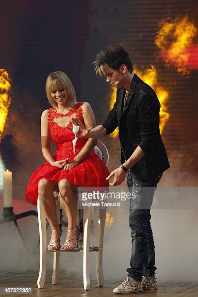 The Magicians Ehrlich Brothers and moderator Francine Jordi during the dress rehearsal of the TV music show 'Stadlshow' on September 11 2015 in...