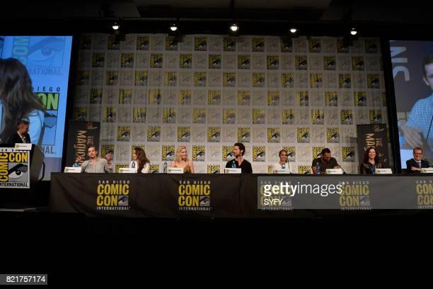 DIEGO 'The Magicians Panel' Pictured Moderator Chris Hardwick Jason Ralph Stella Maeve Olivia Taylor Dudley Hale Appleman Summer Bishil Arjun Gupta...