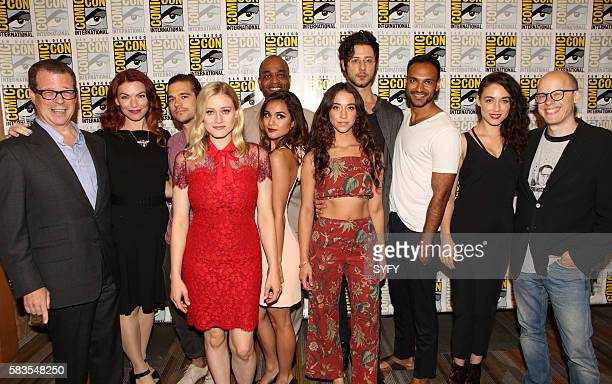 DIEGO 'The Magicians Press Room' Pictured Executive Producer John McNamara Executive Producer/Writer Sera Gamble Jason Ralph Olivia Taylor Dudley...