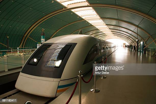 The Maglev magnetic levitation train in Shanghai.
