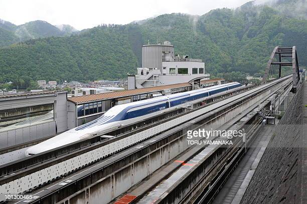 The Maglev train leaves the platform for a test run on the experimental track in Tsuru 100km west of Tokyo on May 11 2010 US Transportation Secretary...
