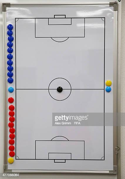 The magnetic tactics board is seen in the Uzbekistan changing room prior to the FIFA U20 World Cup New Zealand 2015 Quarter Final match between...