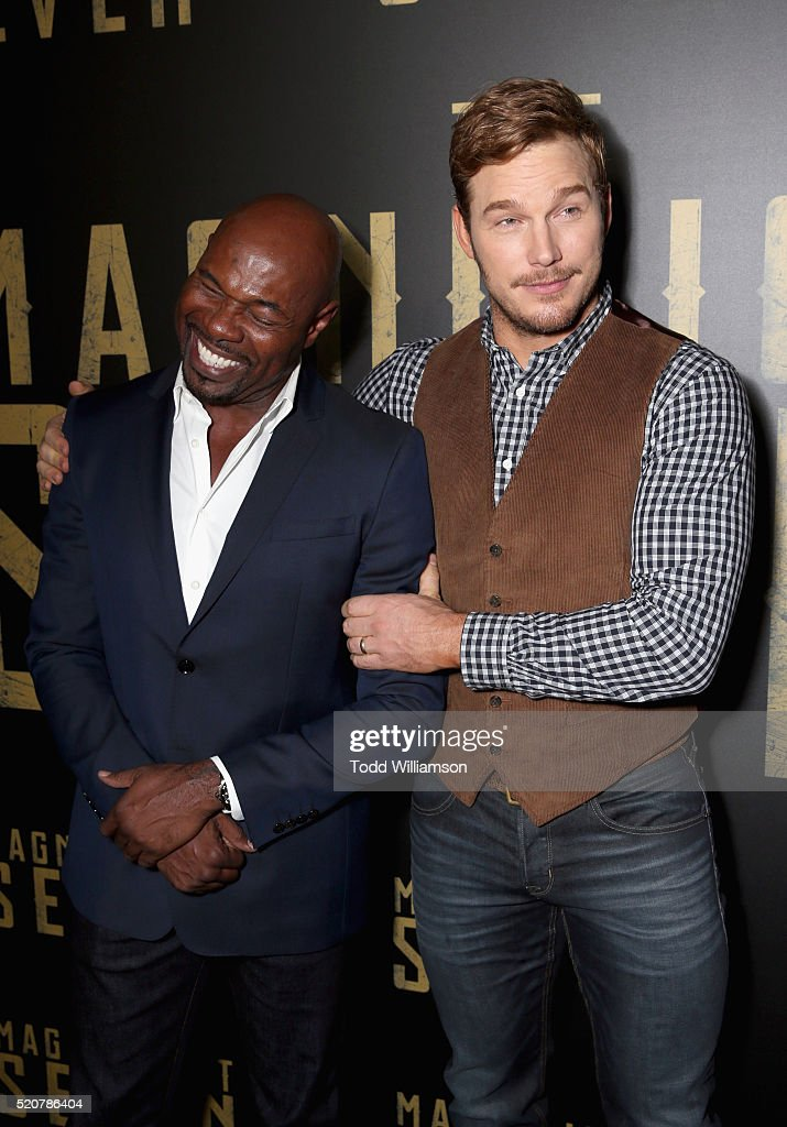'The Magnificent Seven' director Antoine Fuqua and actor Chris Pratt attends CinemaCon 2016 An Evening with Sony Pictures Entertainment Celebrating...