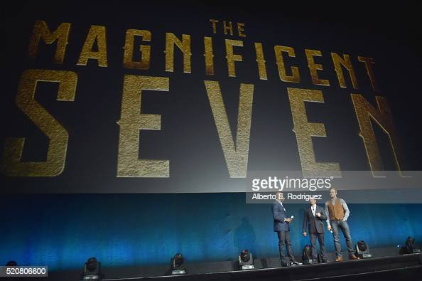 'The Magnificent Seven' director Antoine Fuqua Sony Pictures Entertainment President of Worldwide Distribution Rory Bruer and actor Chris Pratt speak...