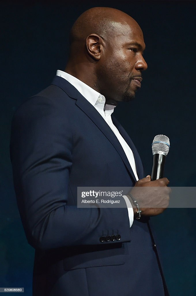 'The Magnificent Seven' director Antoine Fuqua speaks onstage during CinemaCon 2016 An Evening with Sony Pictures Entertainment Celebrating the...