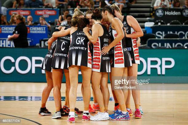 The Magpies form a huddle during the round four Super Netball match between the Magpies and the Thunderbirds at Hisense Arena on March 12 2017 in...