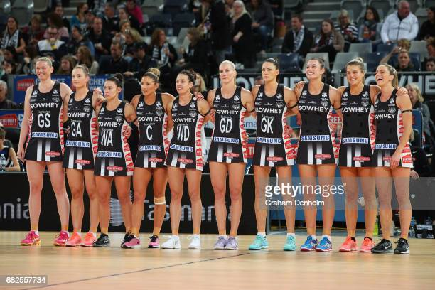 The Magpies line up prior to the round 12 Super Netball match between the Magpies and the Swifts at Hisense Arena on May 13 2017 in Melbourne...