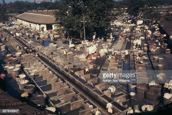 The Mahalaxmi Dhobi Ghat a large open air laundromat in Bombay India circa 1965