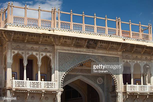 The Maharaja of Jaipur's Moon Palace with flags to show that Maharaja is in residence in Jaipur Rajasthan India
