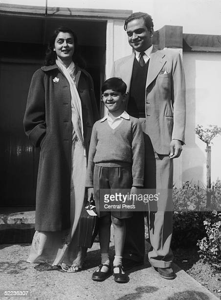 The Maharajah and Maharanee of Jaipur with their seven yearold son Jagat Singh in London 23rd April 1957