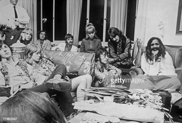 The Maharishi Mahesh Yogi gives an audience to the Beatles and friends 4th September 1967 Left to right Paul McCartney Jane Asher Patti Harrison...