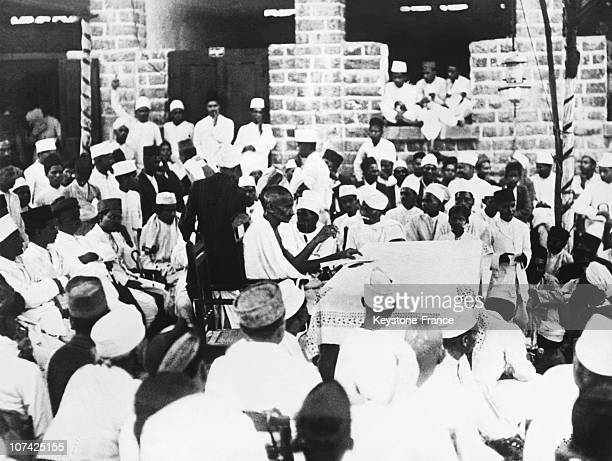 The Mahatma Gandhi Addressing Students At Asia In India During Forties