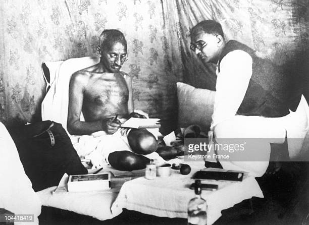 The Mahatma GANDHI in India on March 24 1933 during his hunger strike undertaken in an effort to bring the British government to sign a decree which...