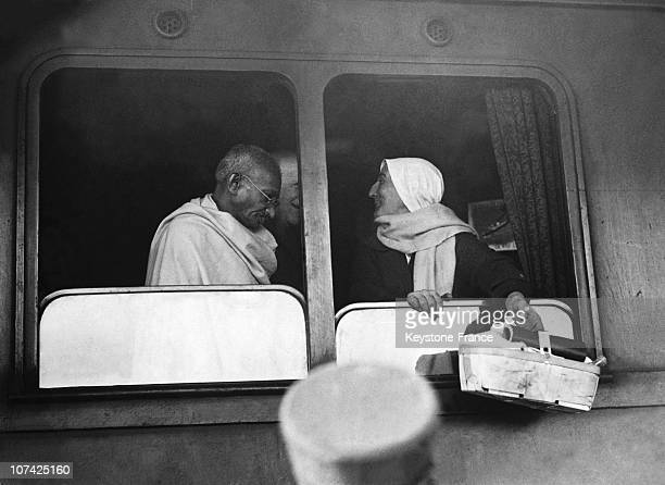The Mahatma Gandhi In The Train At Rome In Italy During Forties