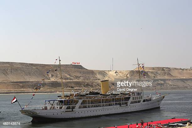 The Mahrousa pulls away from the dock at during the opening ceremony of the new Suez Canal expansion including a new 35km channel on August 6 2015 in...