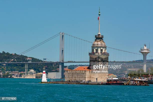 The Maiden's tower and The July 15 martyr's bridge in the backround,Istanbul,Turkey