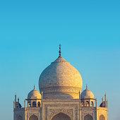 The main building of the Taj Mahal in Agra, India