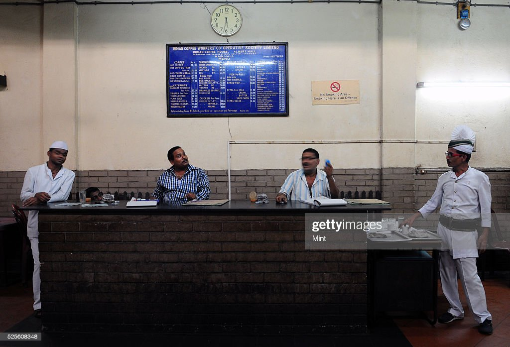 The main cash counter of Indian coffee house at College Street on May 28, 2015 in Kolkata, India.