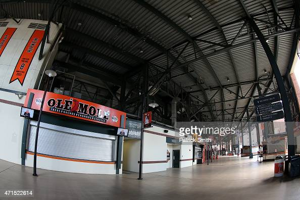 The main concourse is seen empty before the Baltimore Orioles play the Chicago White Sox at Oriole Park at Camden Yards on April 29 2015 in Baltimore...