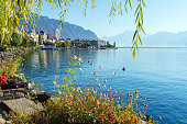 The main embankment of the Lake Geneva, the famous spa town of Montreux, Switzerland