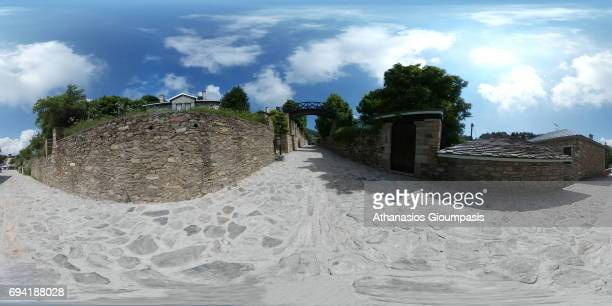 The main entrance at Nymfaio village on June 05 2017 in Nymfaio Greece Nymfaio is a traditional settlement of Mount Vernon at an altitude of 1350 m...