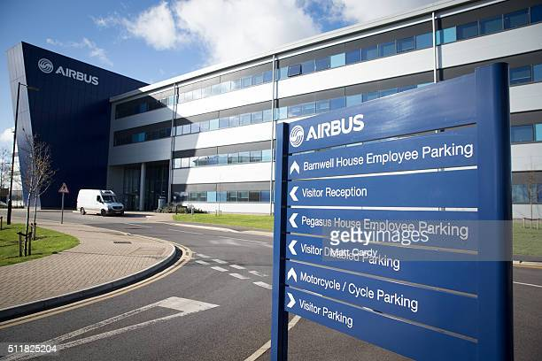 The main entrance of Airbus is seen on February 23 2016 in Bristol England The former Home Secretary and head of Labour In for Britain Alan Johnson...