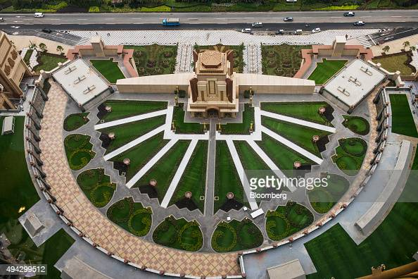 The main entrance of Studio City casino resort developed by Melco Crown Entertainment Ltd stands ahead of the grand opening during a media tour in...