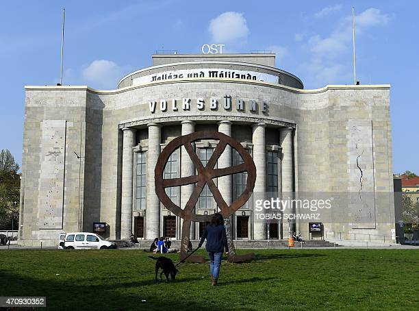 The main entrance to Berlin's experimental Volksbuehne theater is pictured on April 24 2015 Belgian Chris Dercon will leave the Tate Modern in 2017...