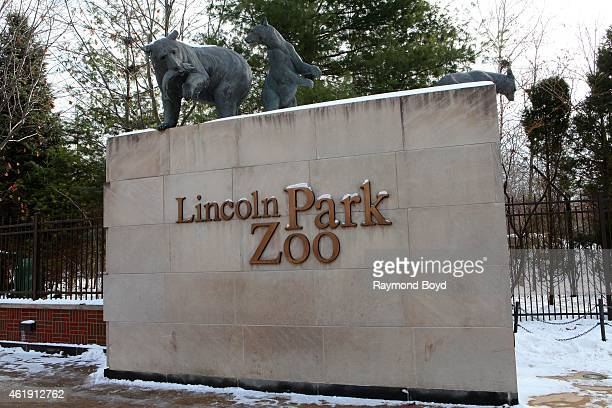 The main entrance to Lincoln Park Zoo in Chicago on January 15 2015 in Chicago Illinois