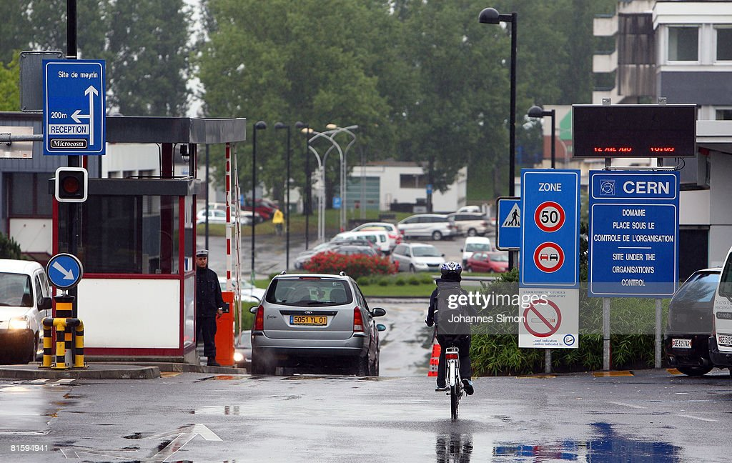 The main entrance to the CERN (European Organization For Nuclear Research) research center, is shown June 16, 2008 in Geneva-Meyrin, Switzerland. CERN is building the Large Hadron Collider (LHC), the world's biggest and most powerful particle accelerator. The LHC is being installed in a tunnel 27 kilometers in circumference, buried 50 - 150 meters below ground. It will provide collisions at the highest energies ever observed in laboratory conditions. Four huge detectors -ALICE, ATLAS, CMS and LHCB- will observe the collisions so that the physicists can explore new territory in matter, energy, space and time.