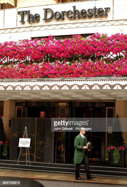 The main entrance to the Dorchester Hotel in Park lane central London as the hotel has been hit by smash and grab robbers for the second time in four...