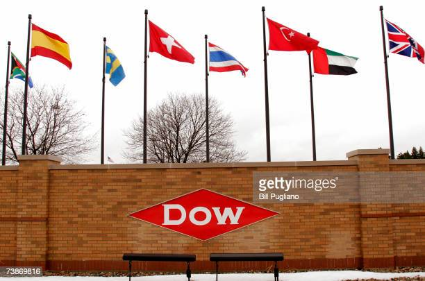 The main entrance to the Dow Chemical world headquarters complex is shown April 12 2007 in Midland Michigan Dow fired two senior executives today for...