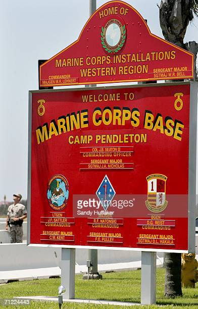 The main gate at the Camp Pendleton Marine Corps base on June 16 2006 in Oceanside California Investigations still continue in the deaths of 24 Iraqi...