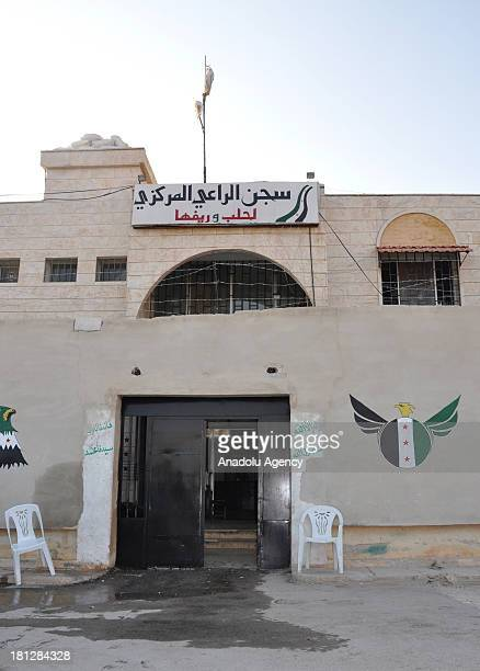 The main gate o fthe prison in Aleppo on August 21 2013 in AleppoSyria The Aleppo prison in the Al Ray building where about 50 soldiers of Assad...