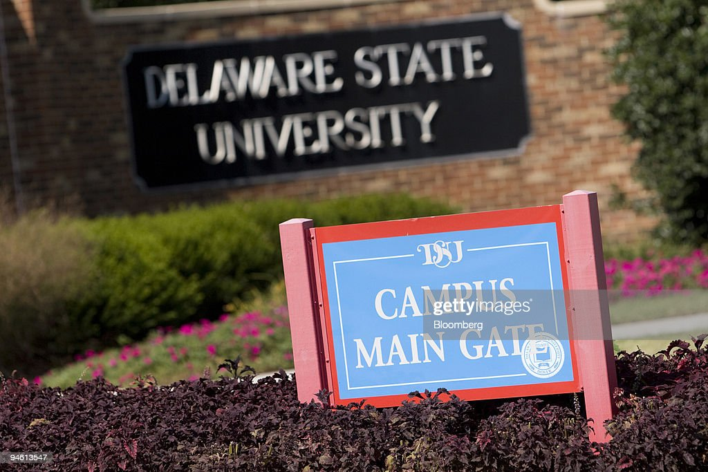 The main gate of the Delaware State University campus in Dover Delaware US on Friday Sept 21 2007 Two Delaware State University students were shot...