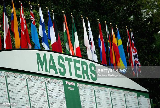 The main leaderboard is seen near the first hole during a practice round prior to the start of the 2015 Masters Tournament at Augusta National Golf...