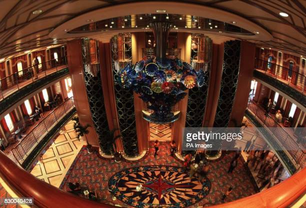 The main lobby of the new Disney cruise ship the Disney Magic which can accommodate 2400 guests on its eleven passenger decks The ship is a new...