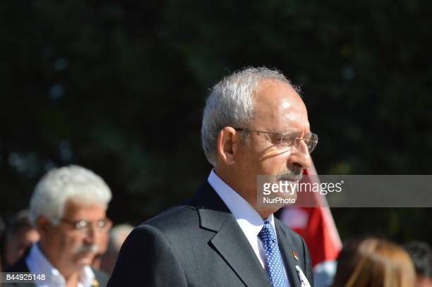 The main opposition Republican People's Party leader Kemal Kilicdaroglu attends a march marking the 94th anniversary of his party at Anitkabir the...