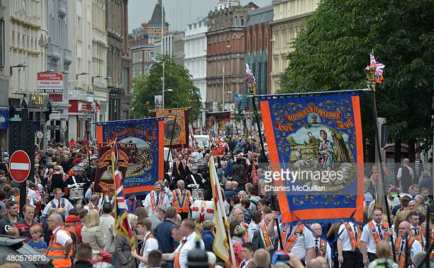The main parade makes its way through the city centre during the Twelfth of July parade on July 13 2015 in Belfast Northern Ireland The Twelfth is an...