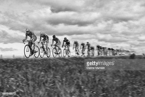The main peloton heads to Gore during stage five of the Tour of Southland on November 6 2015 in Invercargill New Zealand