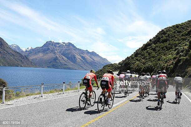 The main peloton makes its way round the Devil's Staircase towards Coronet Peak from Mossburn during stage three of the 2016 Tour of Southland on...
