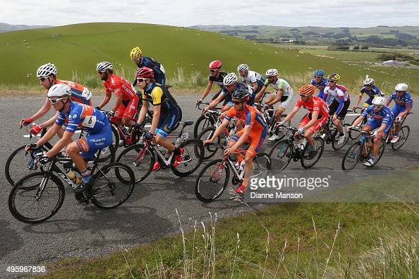 The main peloton on the climb to Gore during stage five of the Tour of Southland on November 6 2015 in Invercargill New Zealand