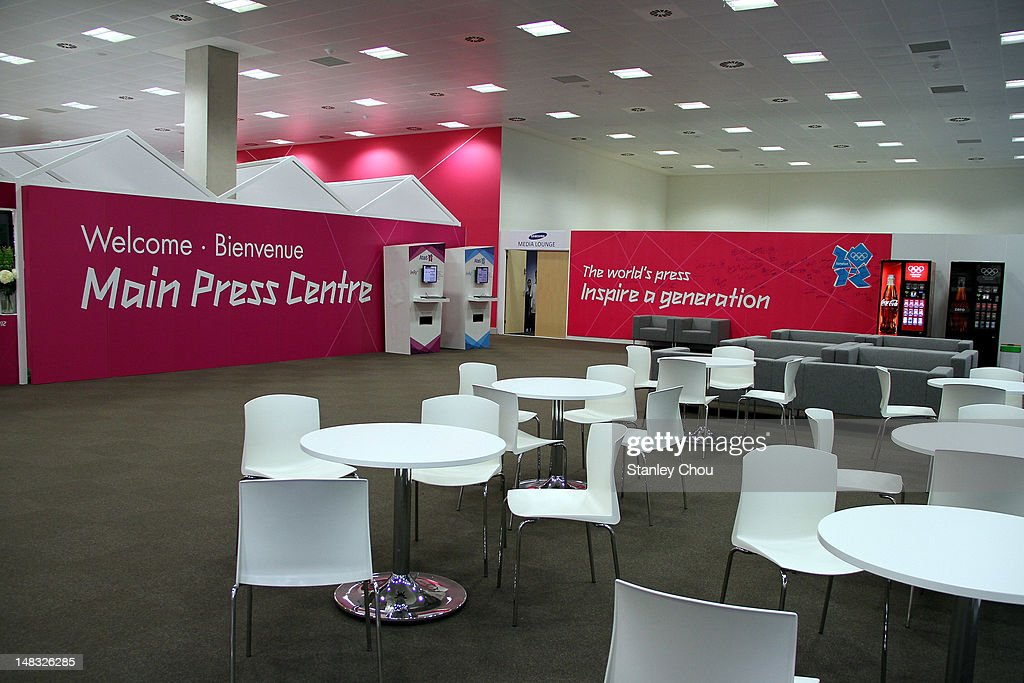 The Main Press help desk is situated on the ground floor of the Main Press Centre during the duration of the 2012 London Olympic Games at Olympic...