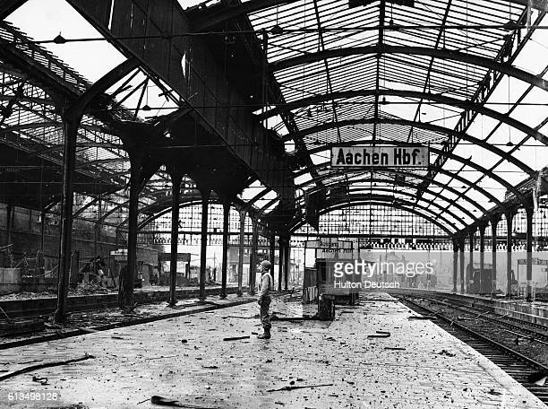 The main railway station In Aachen after the Allied forces forced the German army out of the city