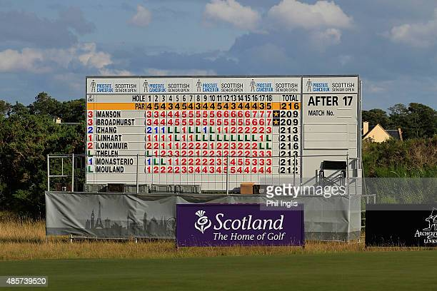 The main scoreboard on the 18th greenduring the final round of the Prostate Cancer UK Scottish Senior Open played at the Fidra Course Archerfield...