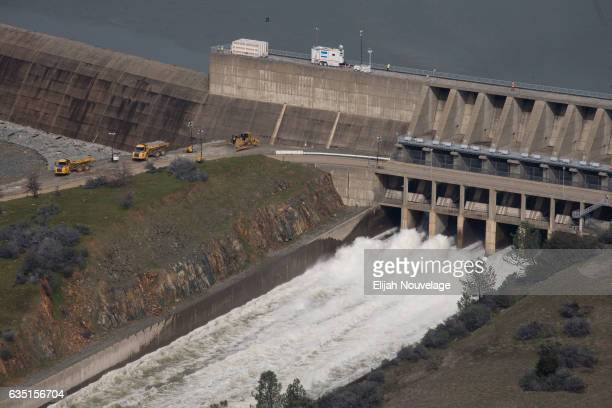 The main spillway which was damaged earlier this week is seen in use from the air on February 13 2017 in Oroville California Almost 200000 people...