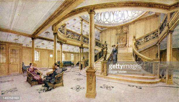 The main staircase of the White Star liner 'Titanic' circa 1912
