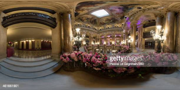 The main stairs of the Opera Garnier is decorated with flowers prior to the Representation Exceptionnelle on April 15 2013 in Paris France